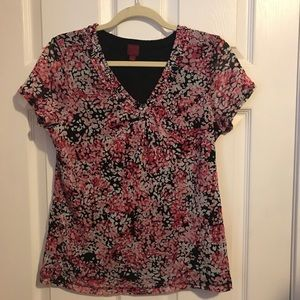 Pink and black knit top 212 Collection Medium
